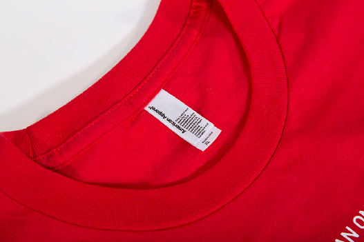 Red round neck shirt with center tag