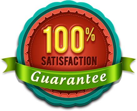 A circular seal logo with a 100% satisfaction gurantee tagline encrypted