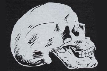 Black garment with skull print