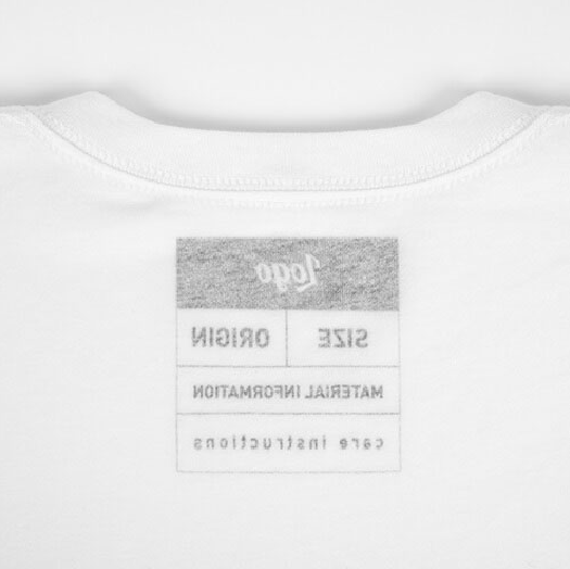 White shirt with outside label