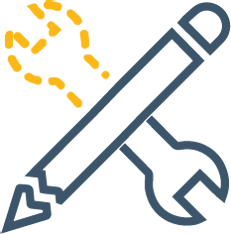 Pen and wrenched icon