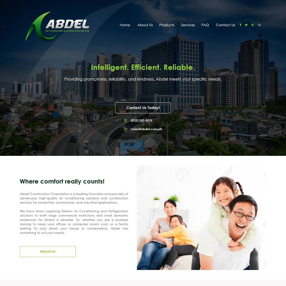Abdel website homepage design