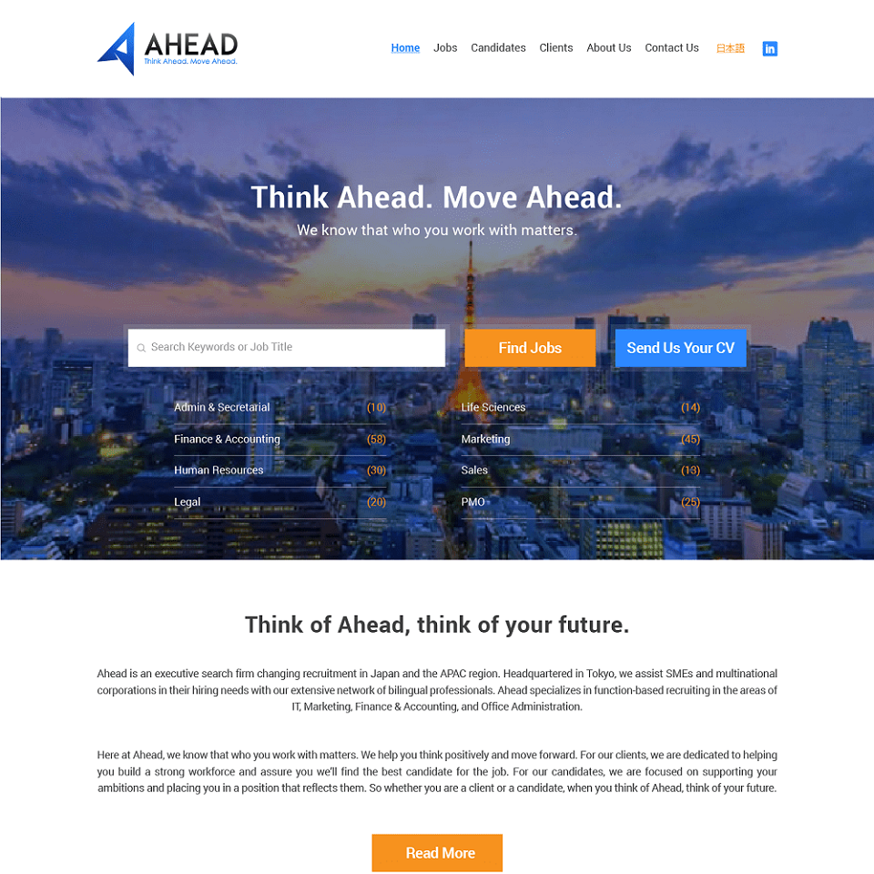 Ahead Japan website homepage design