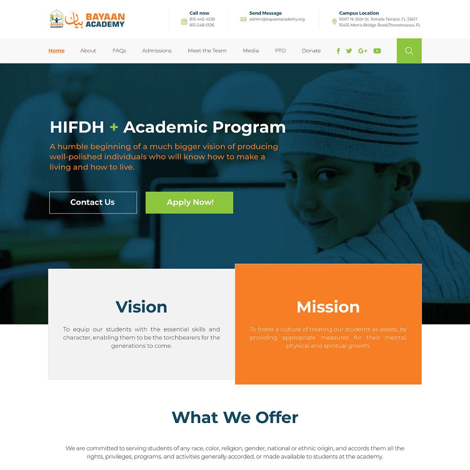 Bayaan Academy website homepage design