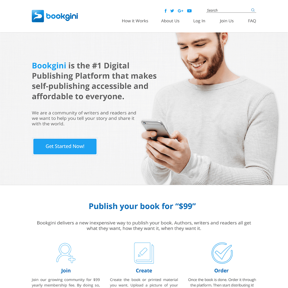 Bookgini website homepage design
