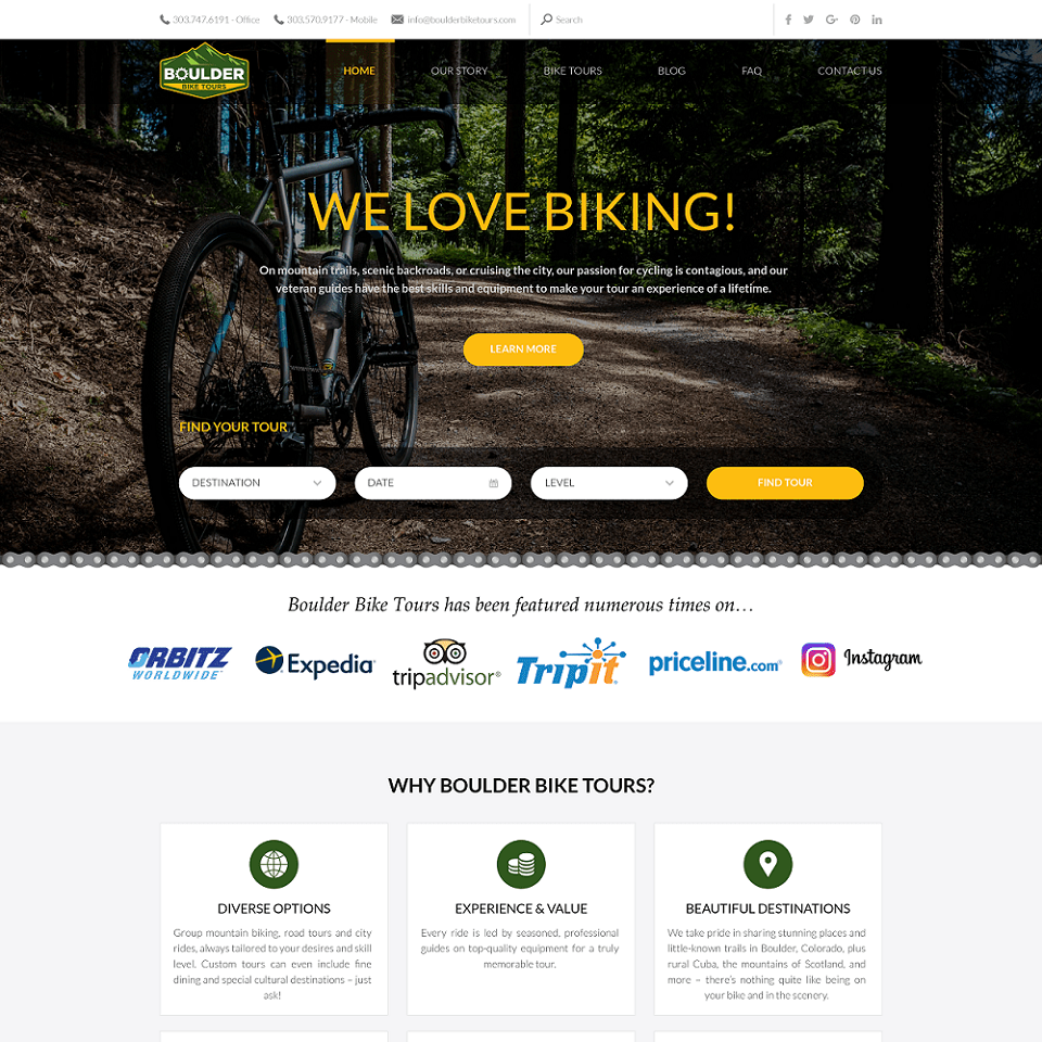 Boulder bike tours website homepage design