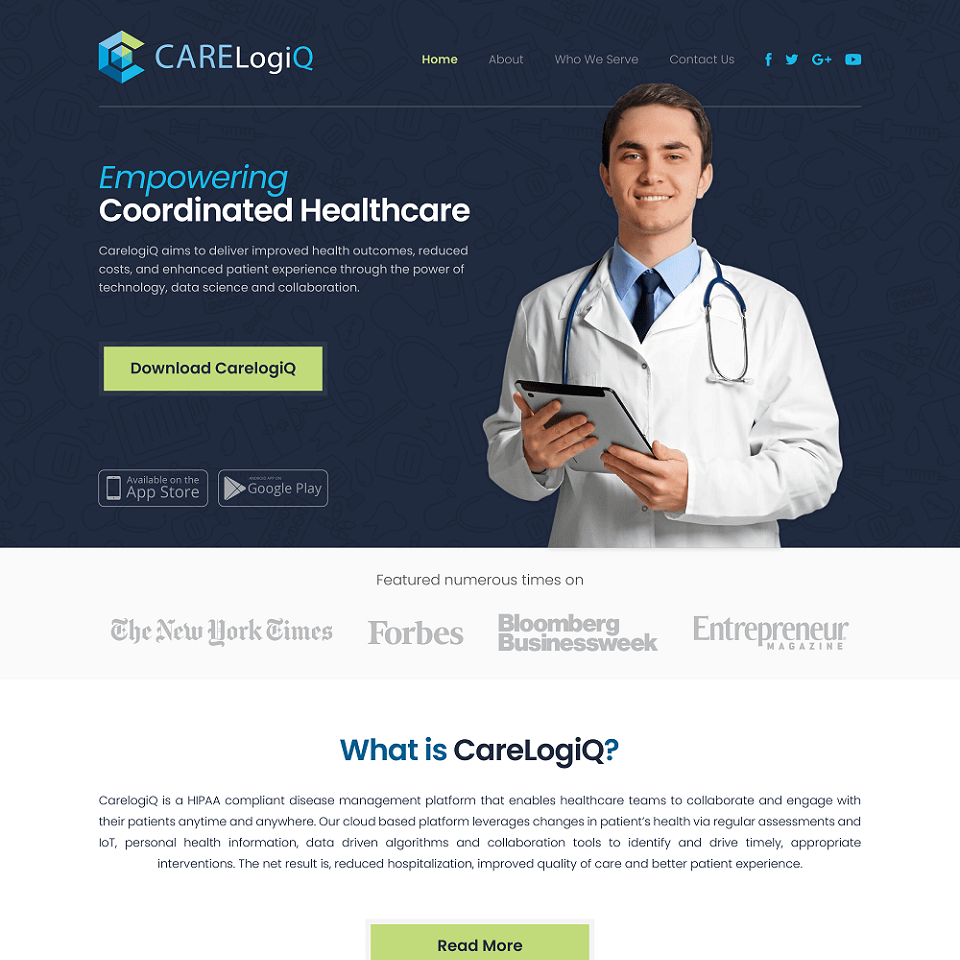 Carelogic website homepage design