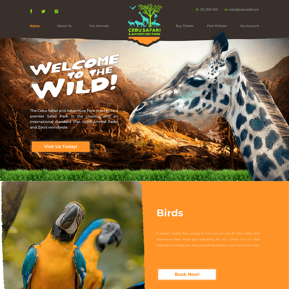 Cebu safari website homepage design