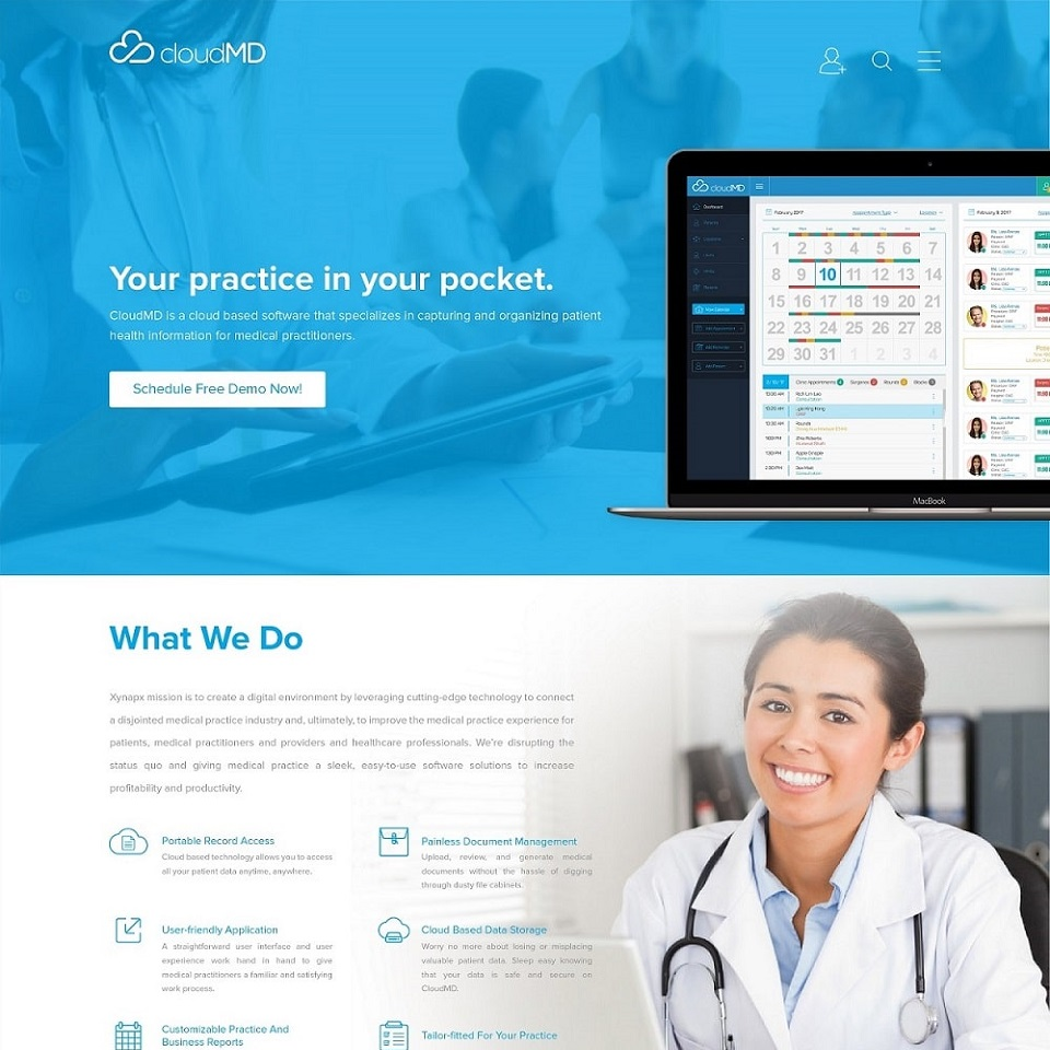 CloudMD website honepage design