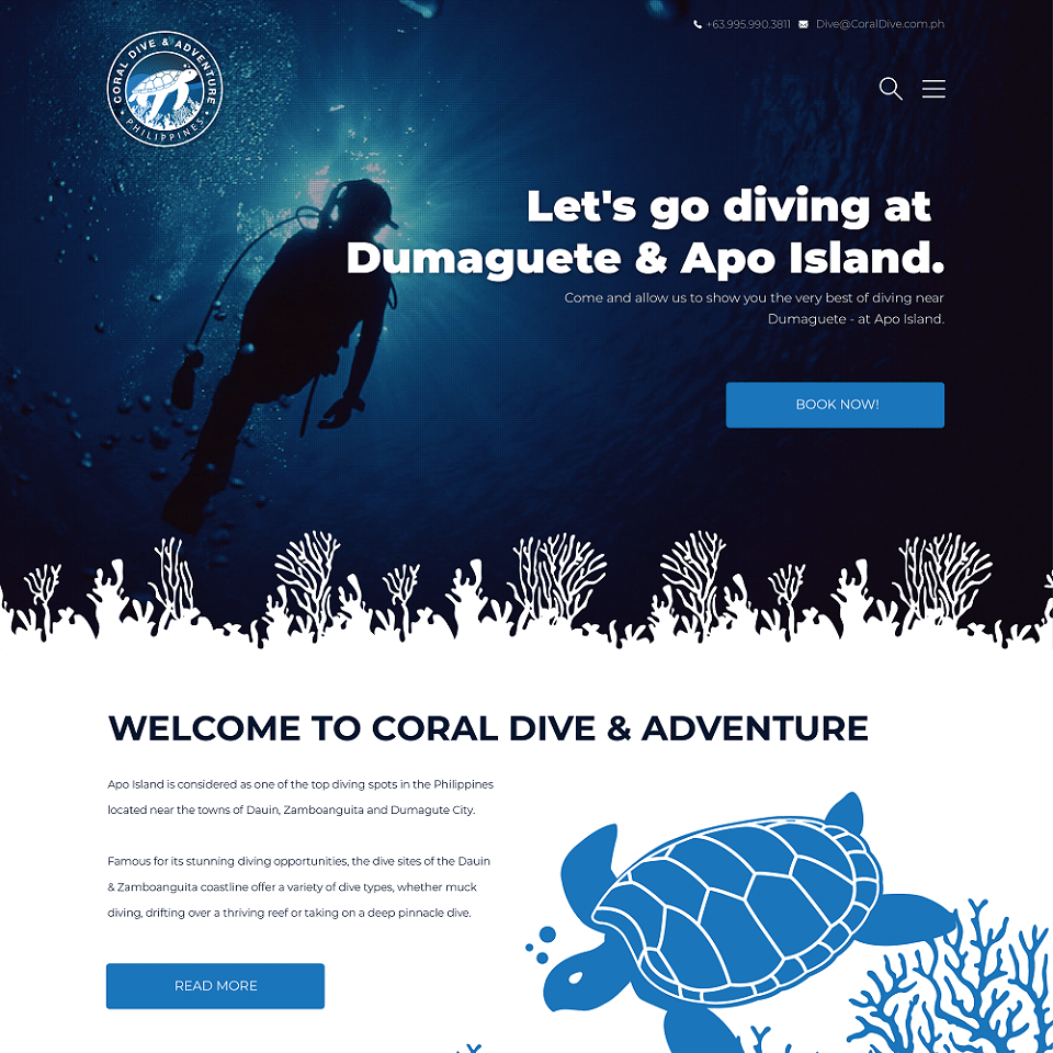 Coral dive website homepage design