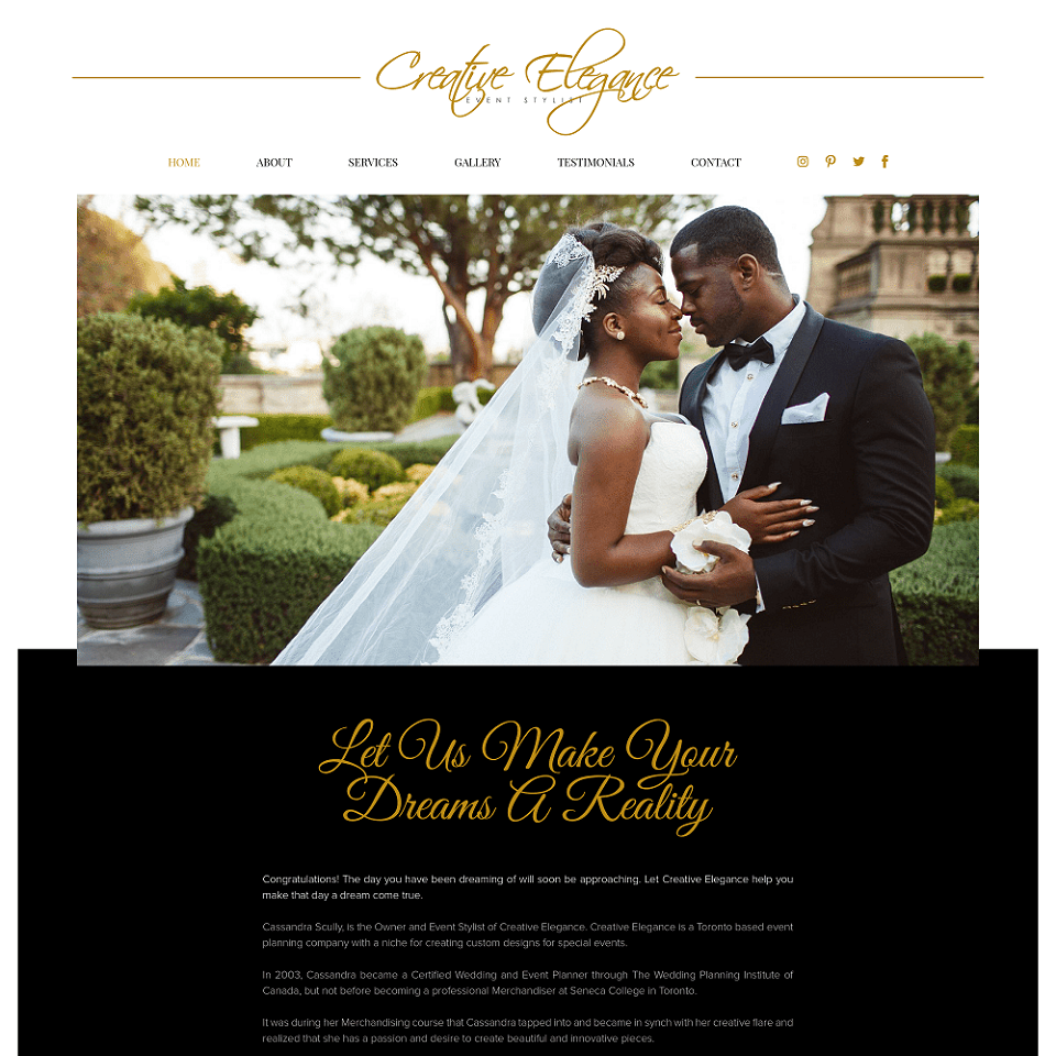 Creative elegance website homepage design