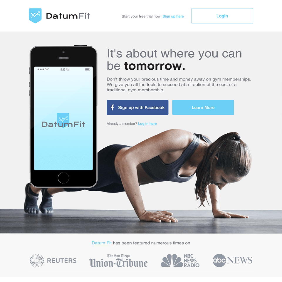 Datum fit website landing page design