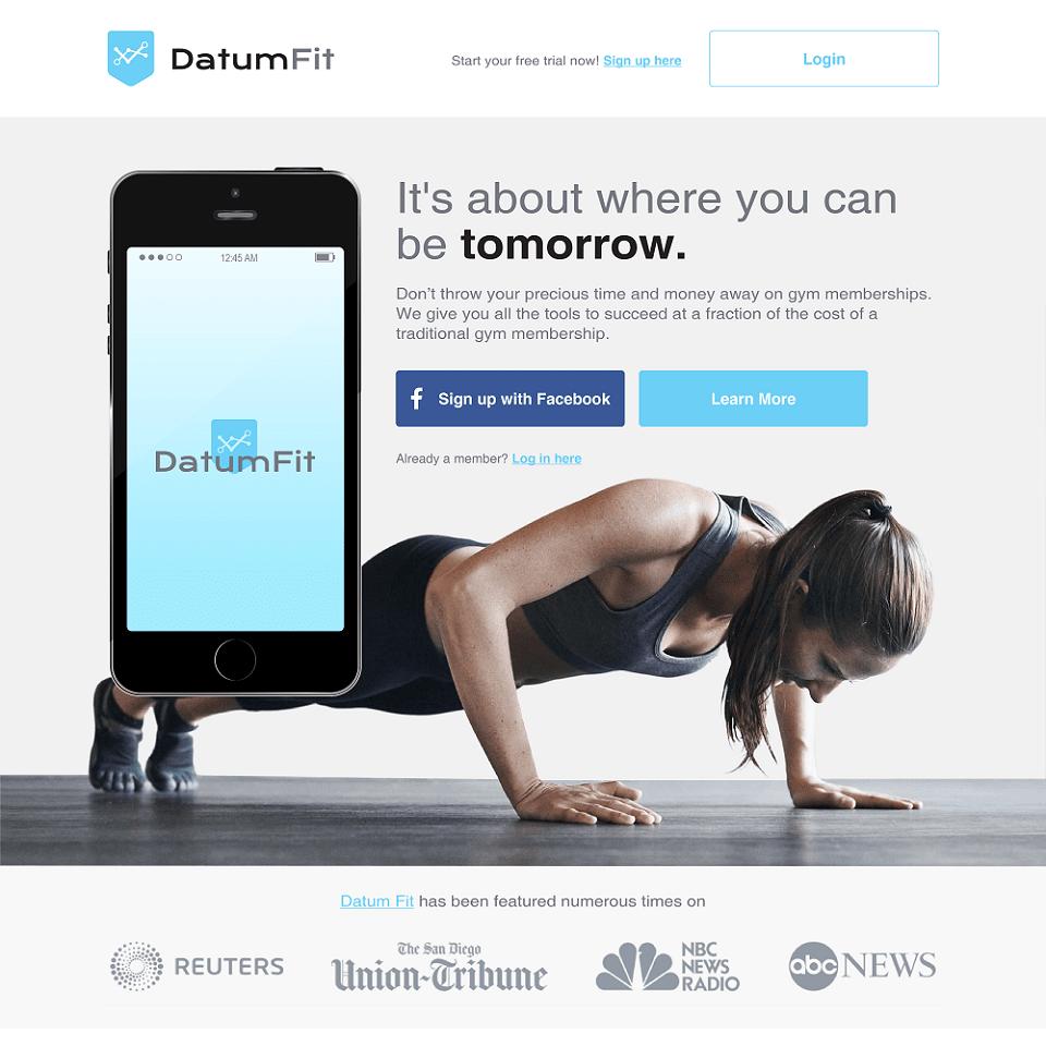 Datum fit website landing page design