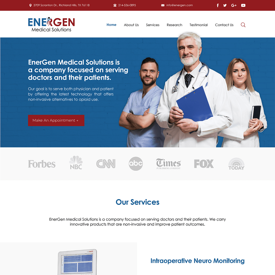 EnerGen medical solutions website homepage design