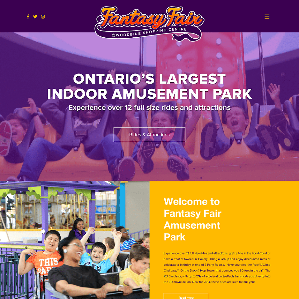Fantasy fair website homepage design