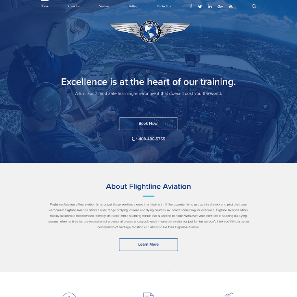 Flightline aviation website homepage design