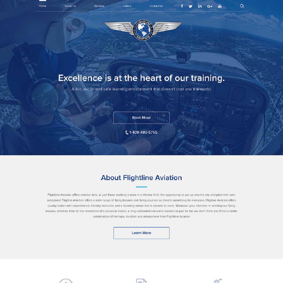 Flightline aviation website homepage design