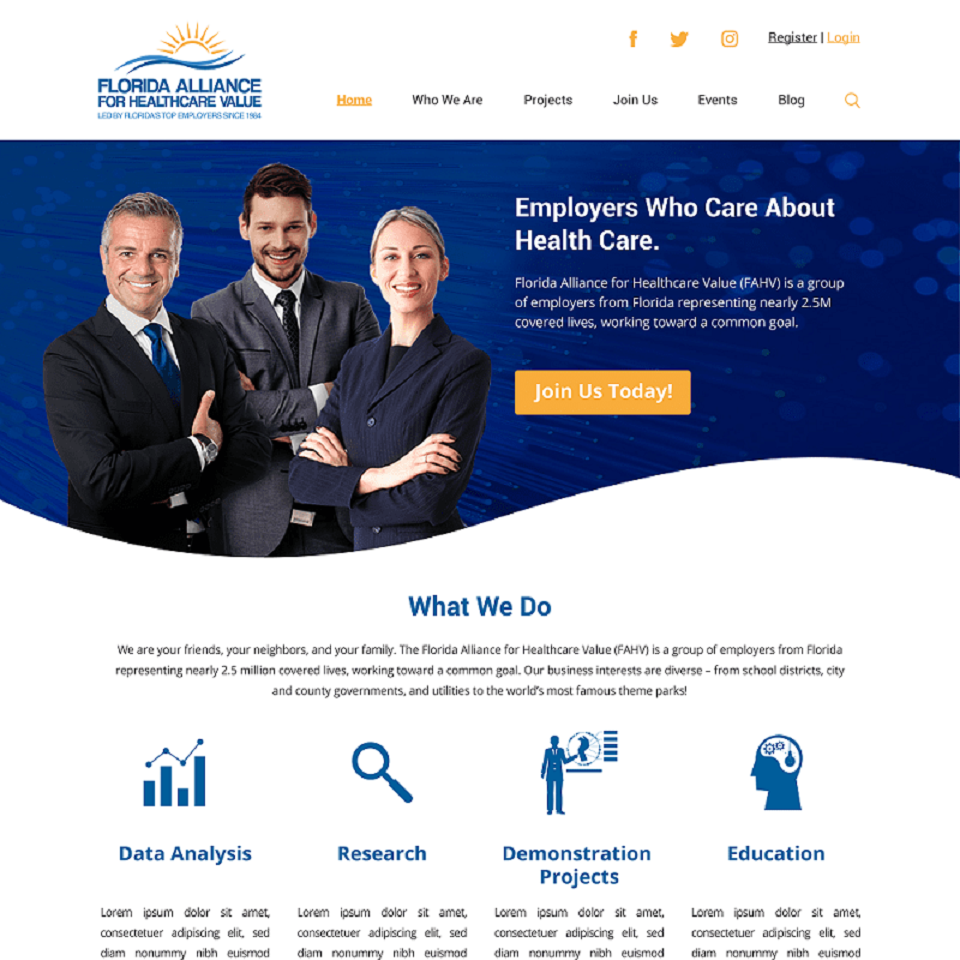 Florida alliance for healthcare value website homepage design