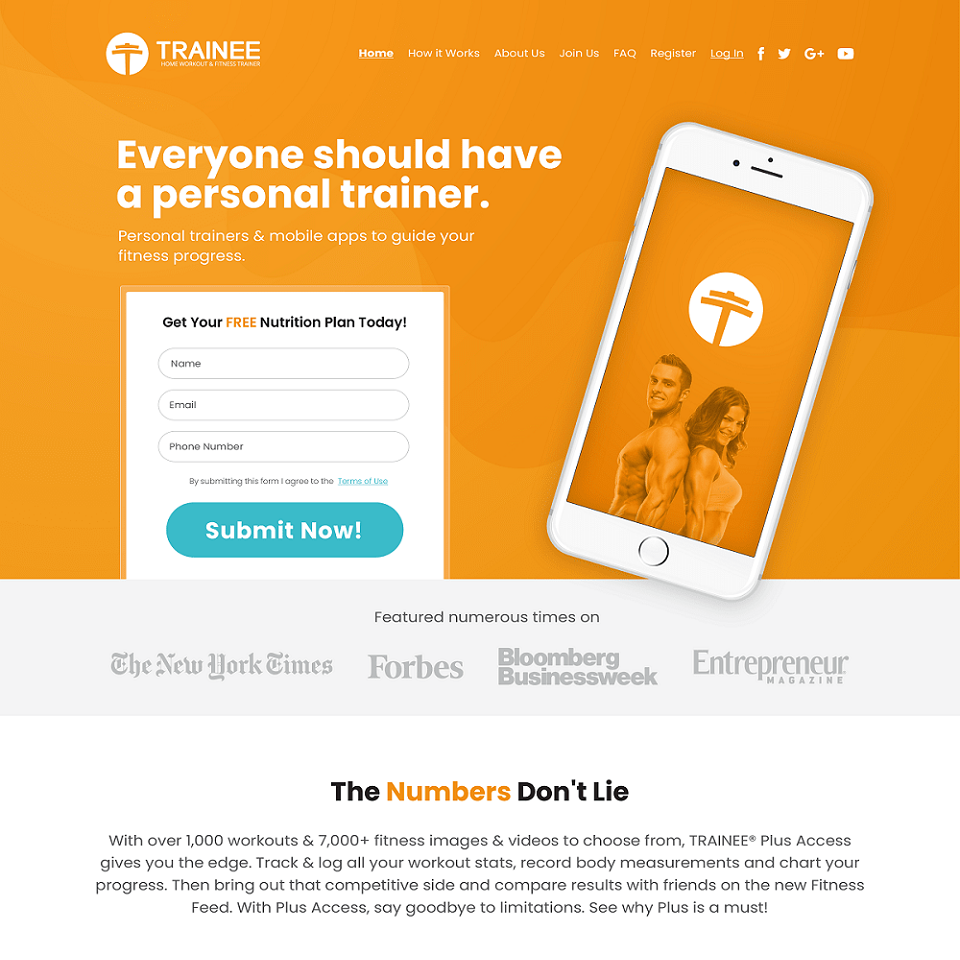 Get trainee website homepage design