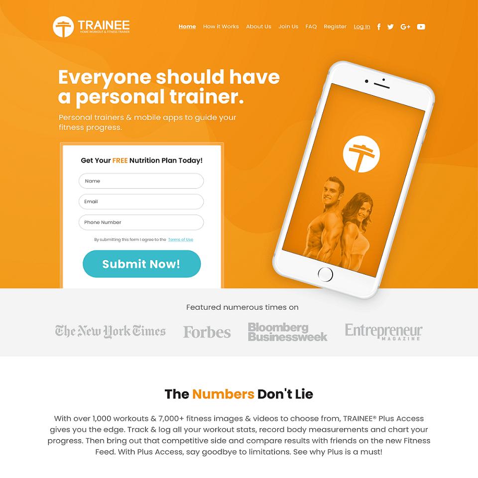 Get trainee website homepage design