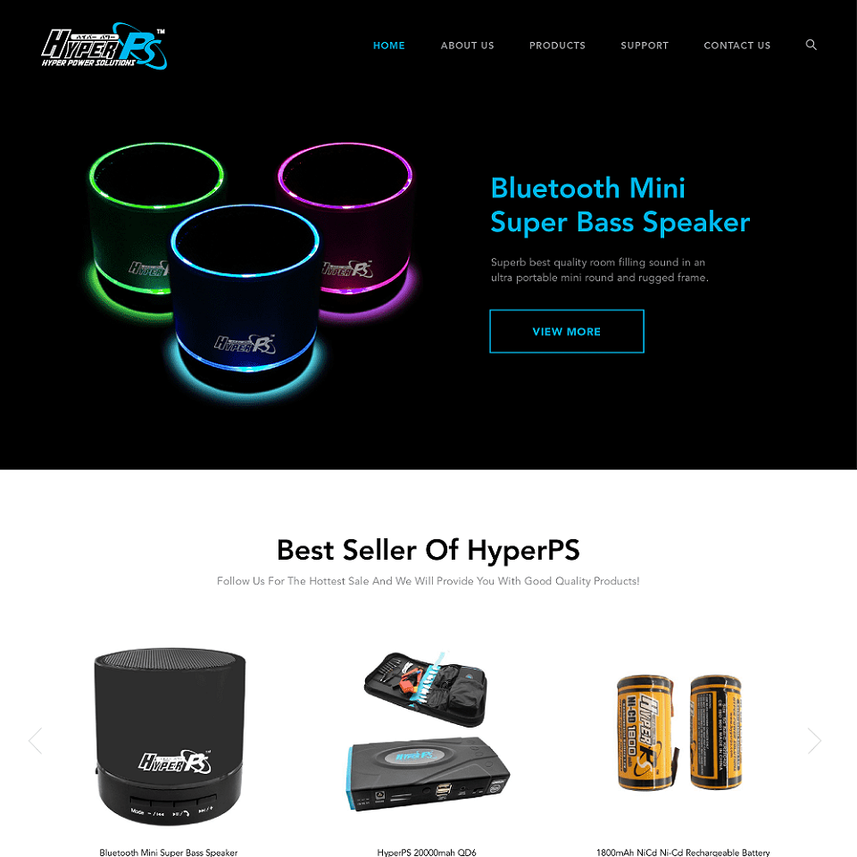 HyperPS website homepage design