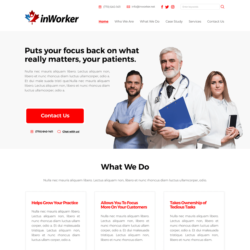 InWorker website homepage design