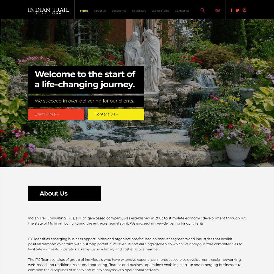 Indian trail website homepage design