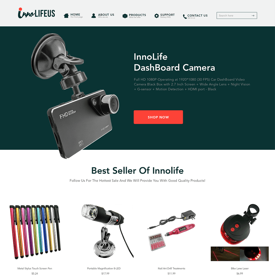 InnoLife website homepage design