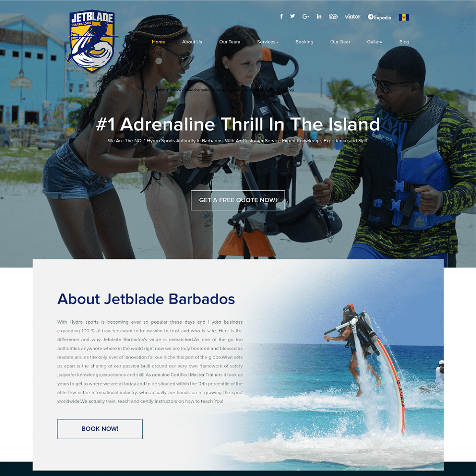 Jetblade barbados website homepage design