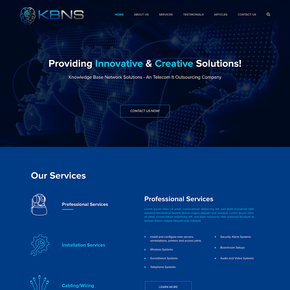Knowledge base network solutions website homepage design