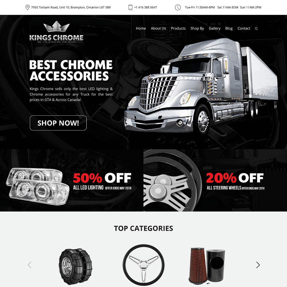 Kings chrome website homepage design