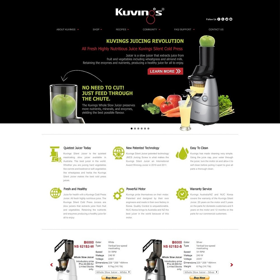 Kurvings website homepage design