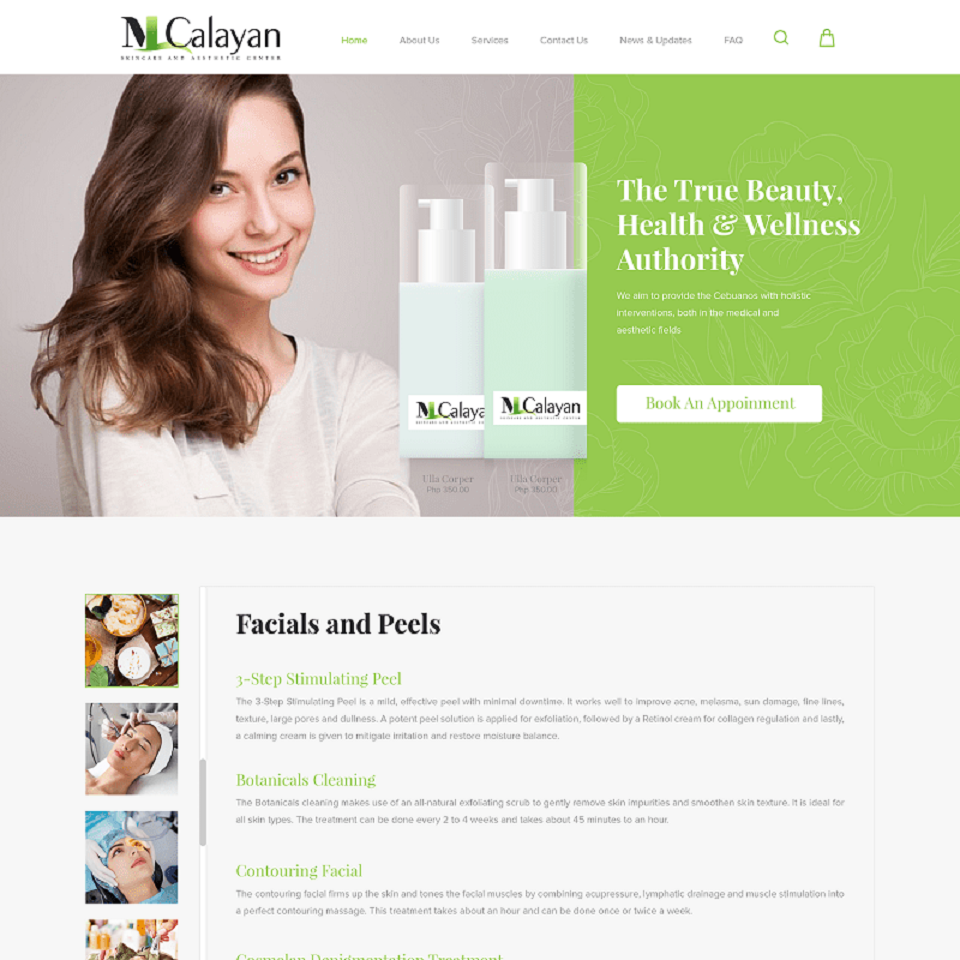 MLCalayan medical group website homepage design