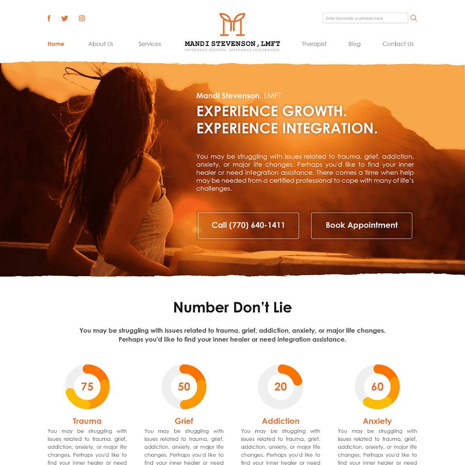 Mandi stevenson website homepage design