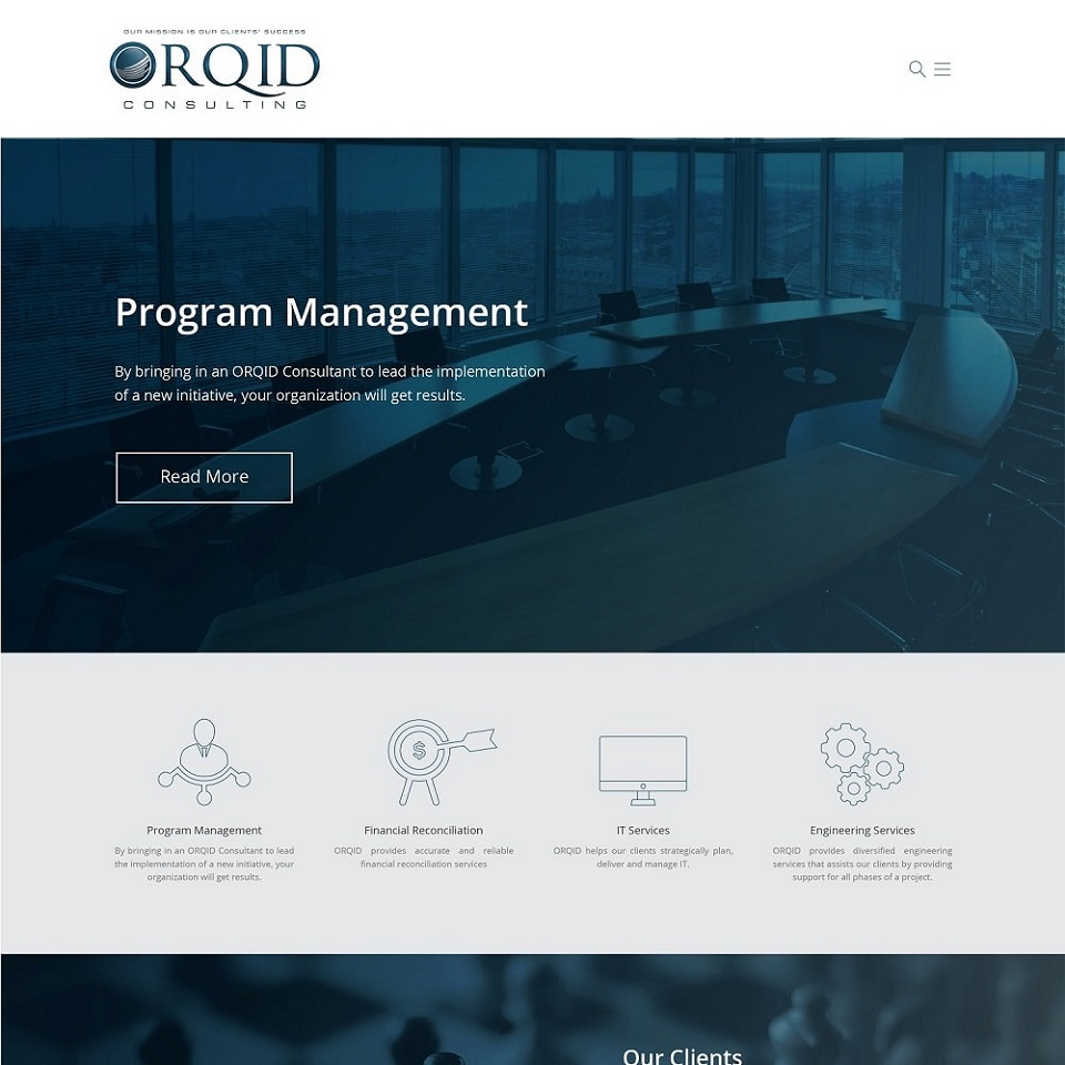 Orqid consulting website homepage design