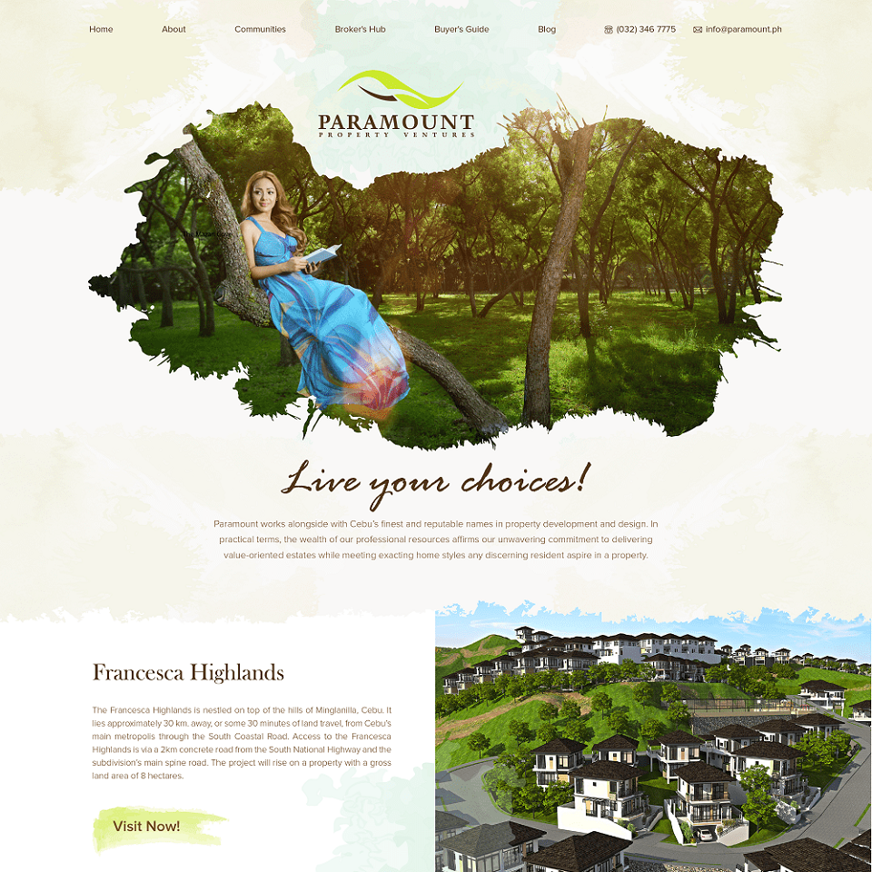 Paramount property ventures website homepage design