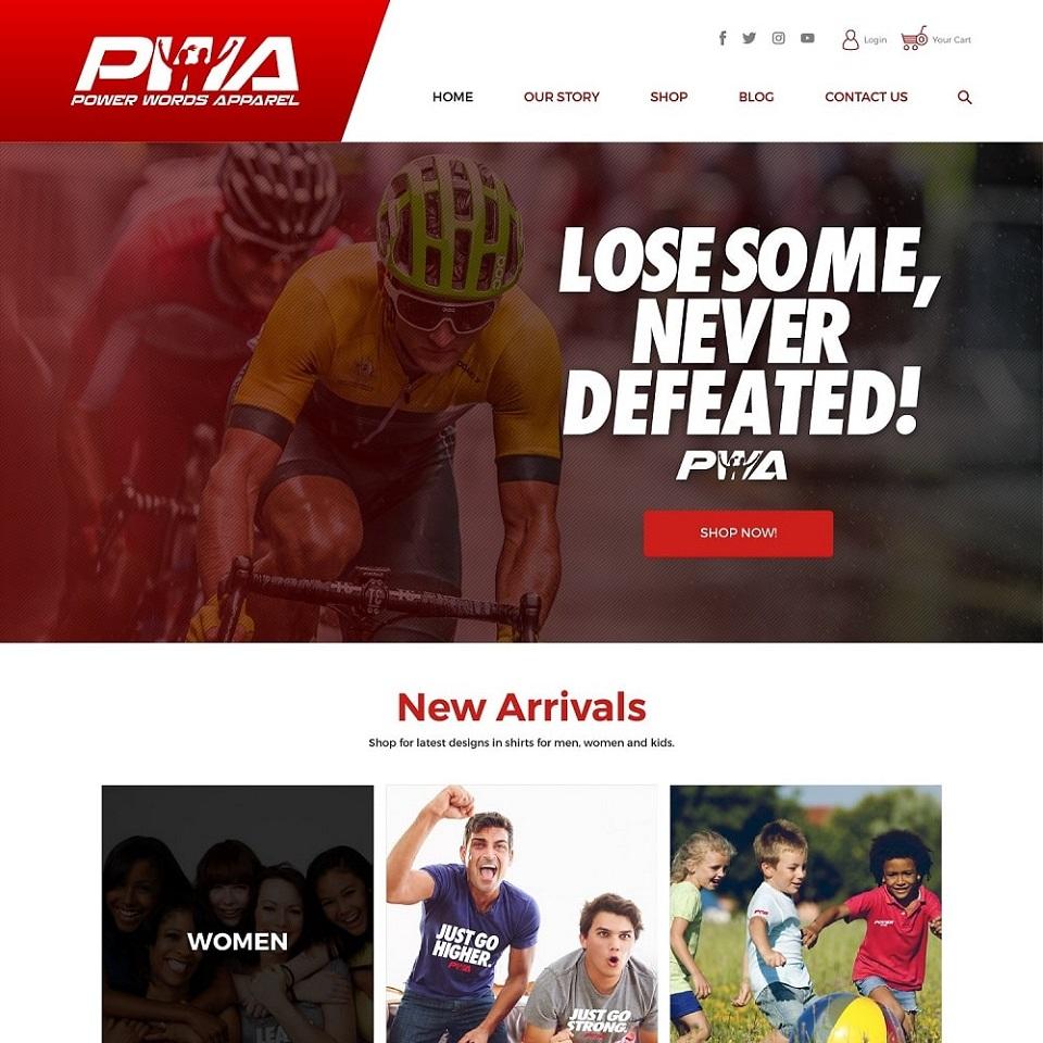 Power words apparel website homepage design
