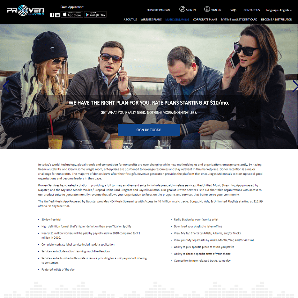 Proven services website homepage design