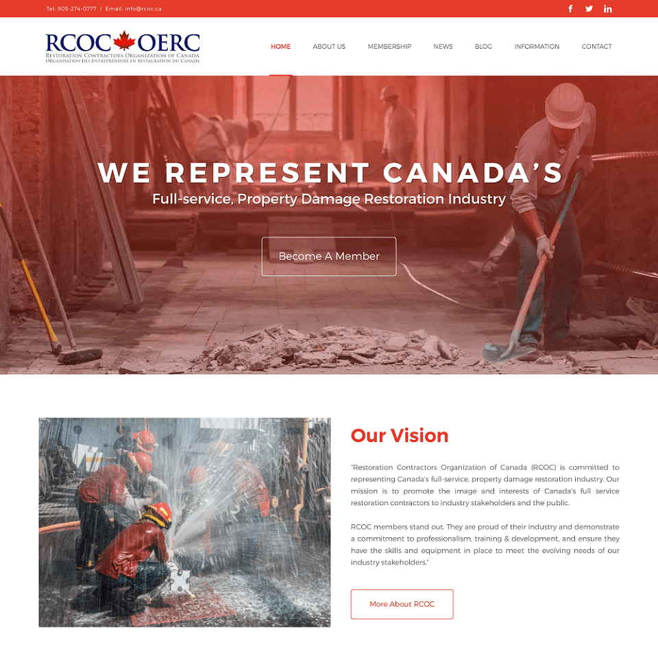 RCOC dki website homepage design