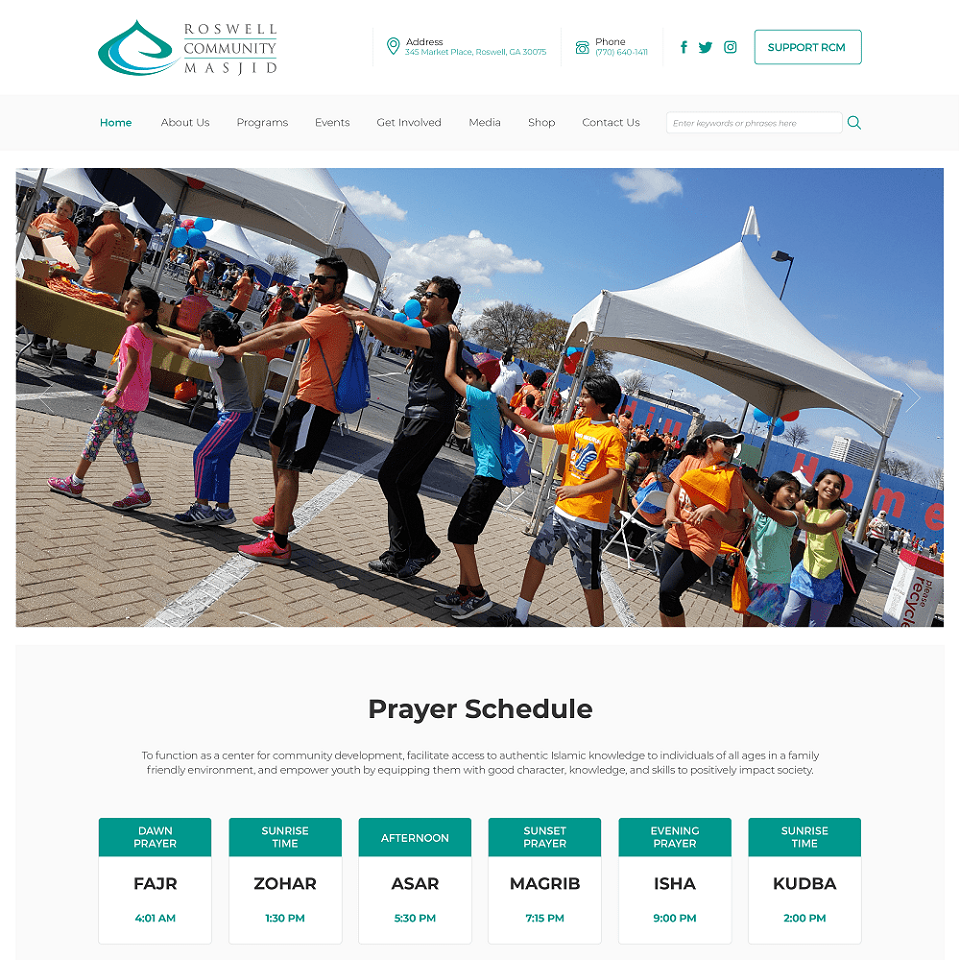 Roswell community website homepage design