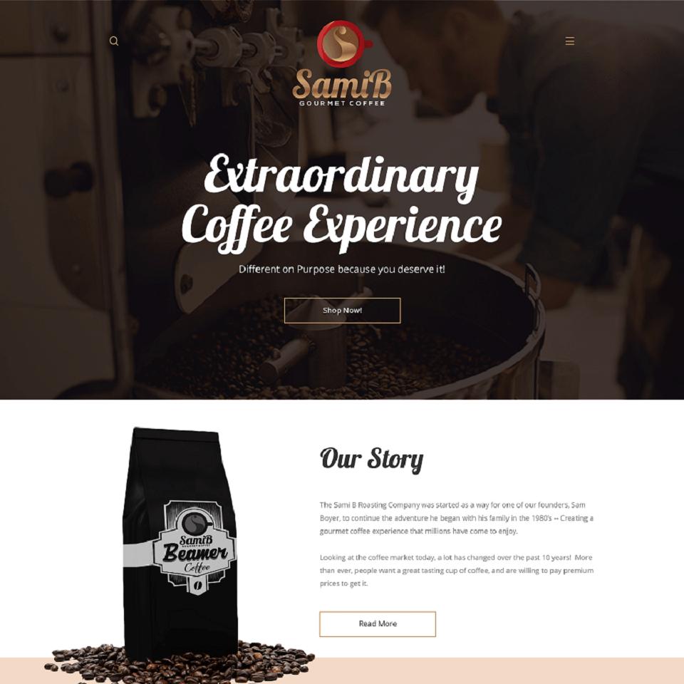 Sams website homepage design