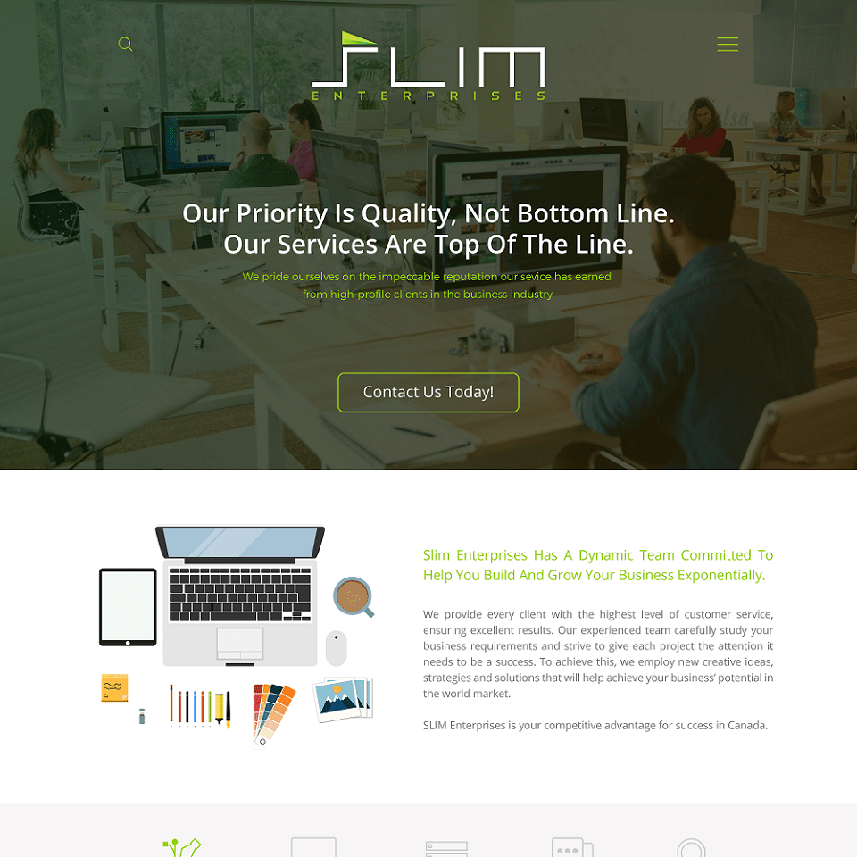 Slim enterprises website homepage design