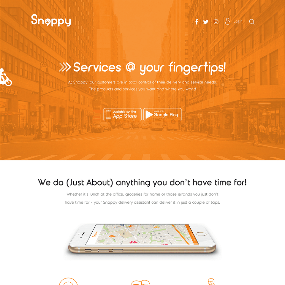 Snappy website homepage design