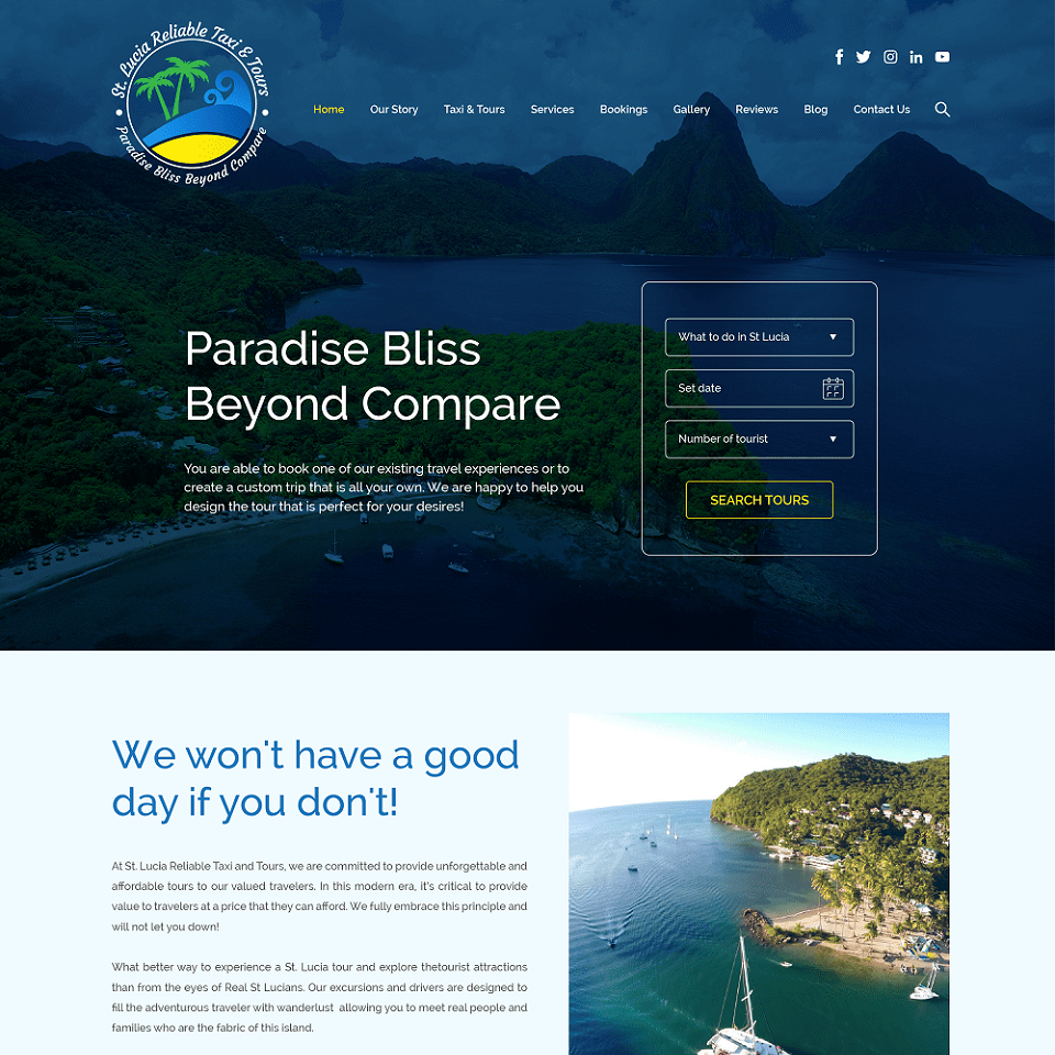 St. Lucia website homepage design