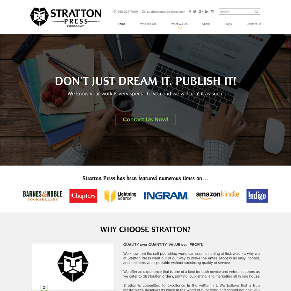 Stratton press website homepage design