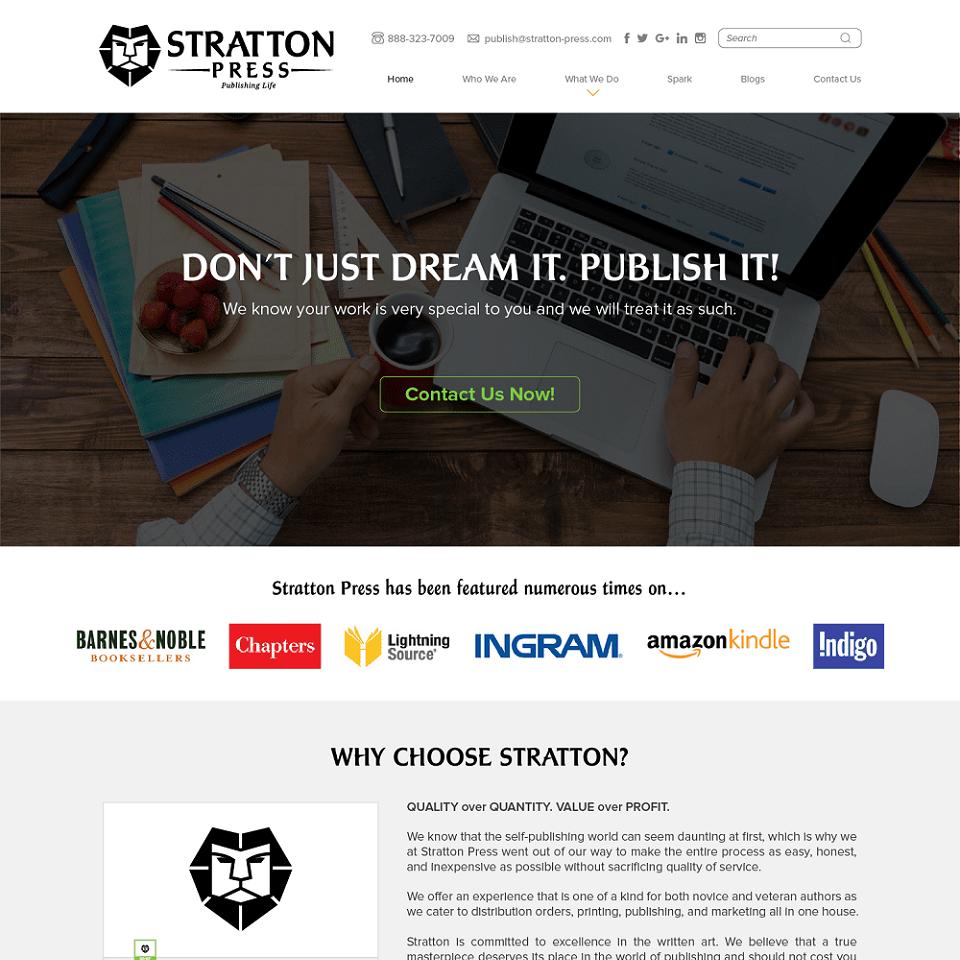 Stratton press website homepage design