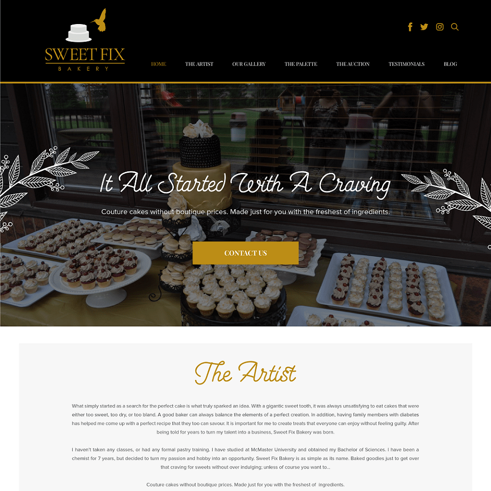 Sweet fix bakery website homepage design