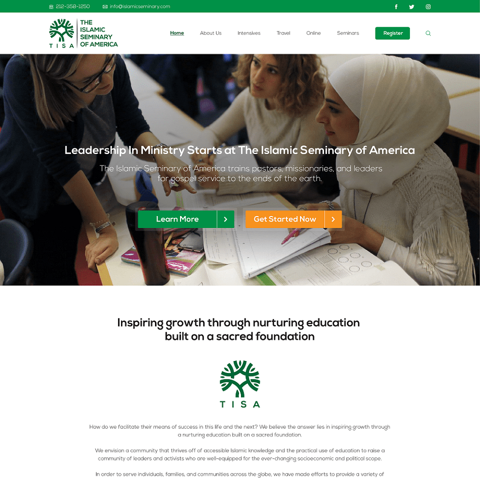 Tisa website homepage design