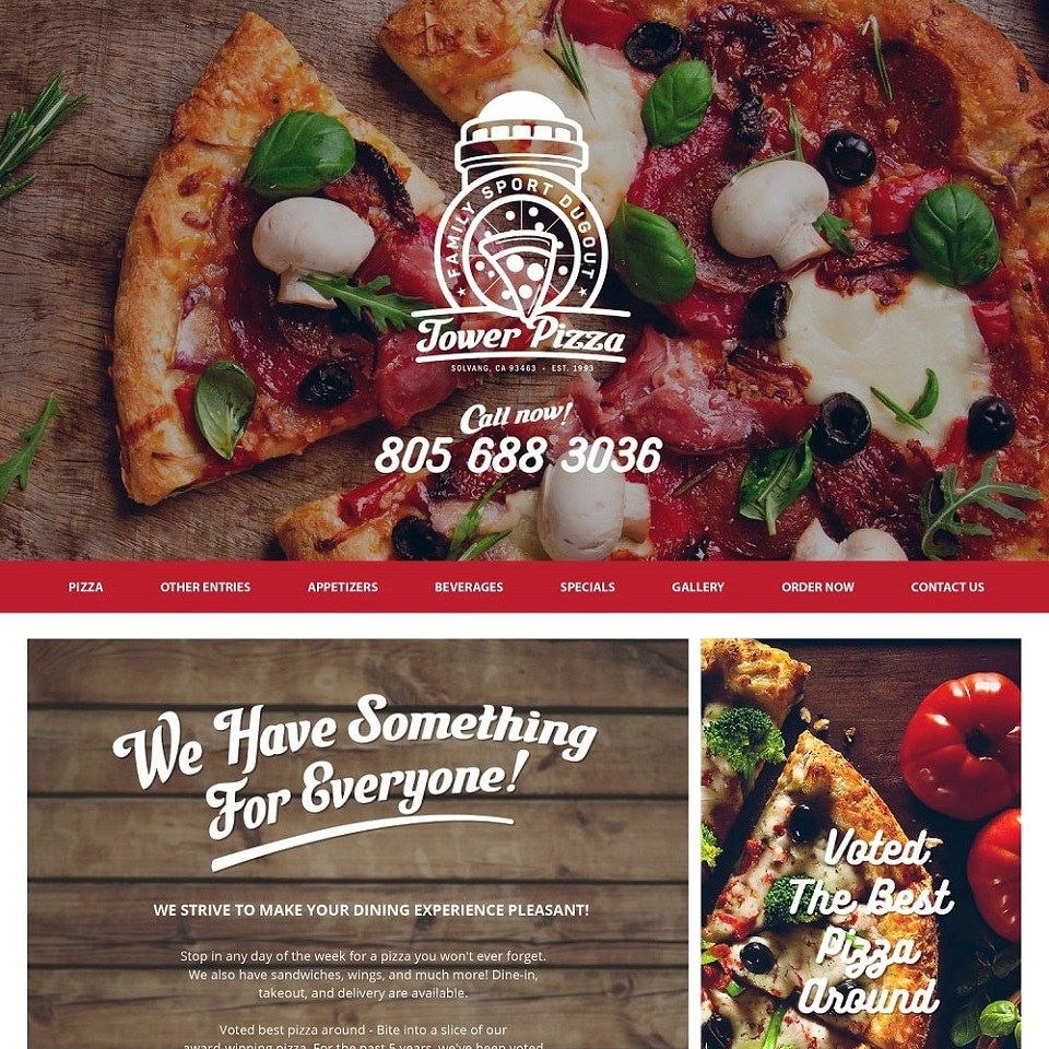 Tower pizza website homepage design