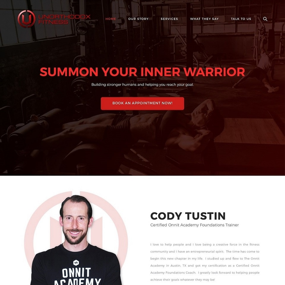 Unorthodox fitness website homepage design